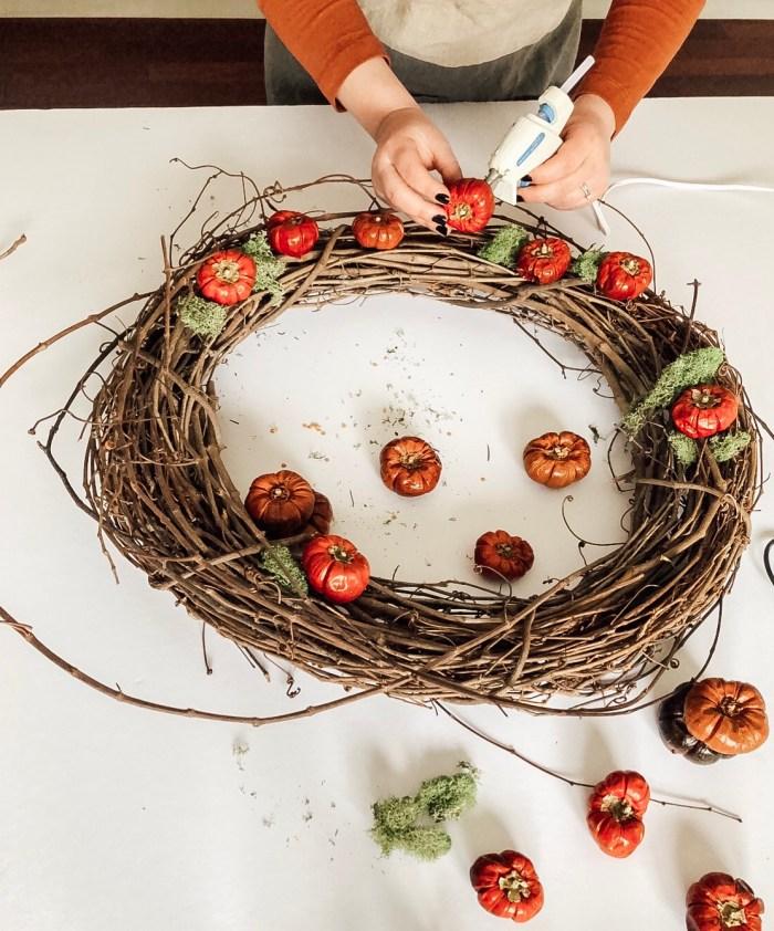diy dried pumpino wreath