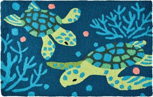 deep blue sea turtle jellybean rug