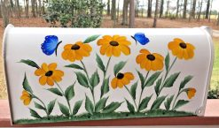 painted mailbox, black eyed susans