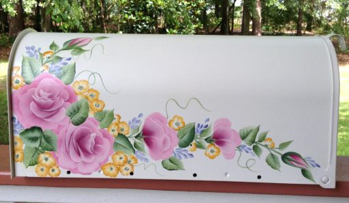 hand painted mailbox with cottage roses