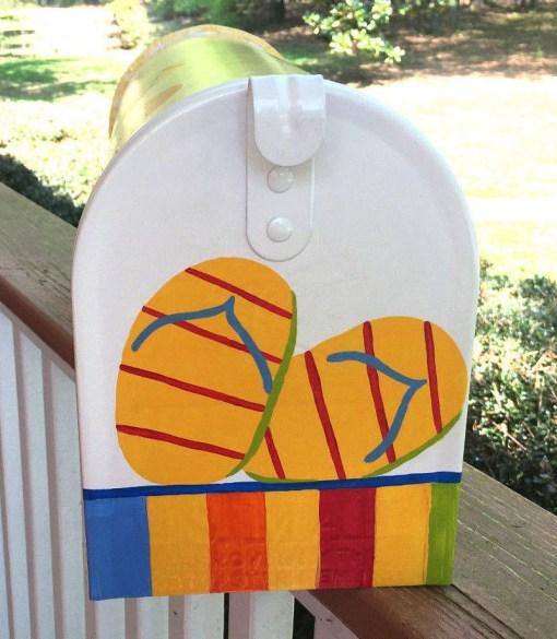 hand painted mailbox summer flip flops