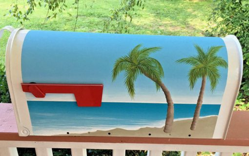 hand painted mailbox with ocean scene