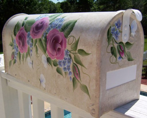 hand painted mailboxes rose swag with butterflies mailbox