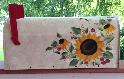sunflowers and bees on side 2 of mailbox