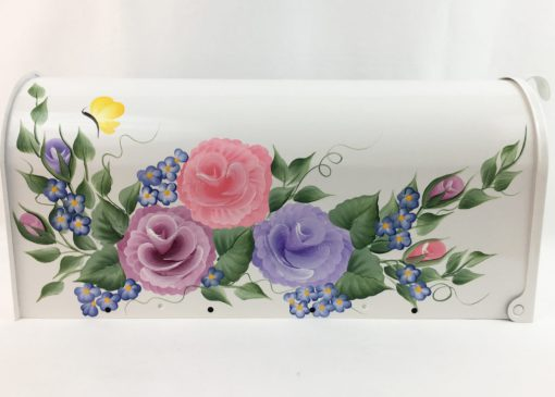 hand painted mailbox with colorful roses flowers and butterflies