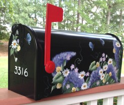 daisies and butterflies hand painted mailbox yellow purple lilac