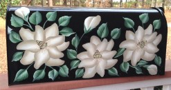 white magnolias hand painted mailbox on black