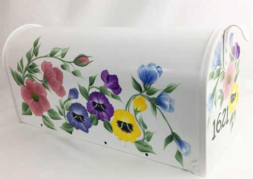 hand painted mailbox with colorful garden flowers