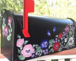 pansy flowers hand painted mailbox