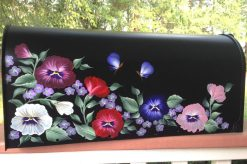hand painted mailbox with pansies and butterflies
