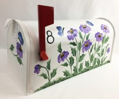 hand painted mailbox with purple cone flowers and butterflies