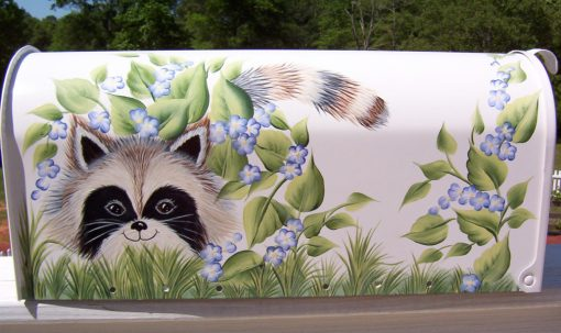 Raccoon hand painted mailbox with flowers and bees