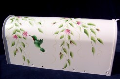 hummingbird and rosebuds hand painted mailbox
