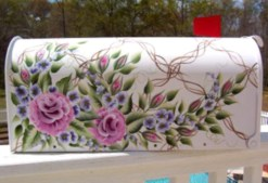 roses purple flowers painted on trellis hand painted mailbox