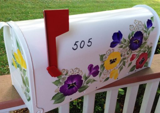 hand painted mailbox decorative pansies side 2