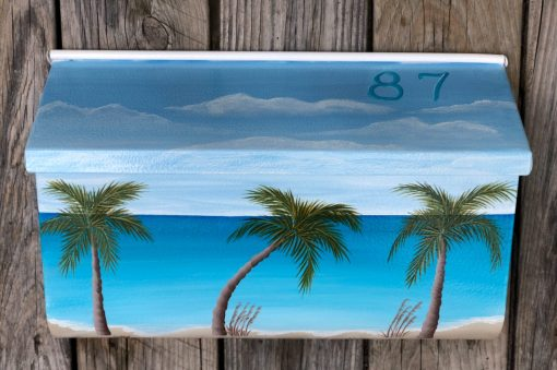 hand painted mailbox nautical beach scene wall mount