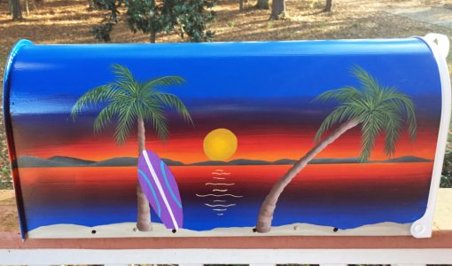 beach scene hand painted mailbox with palms and surfboard