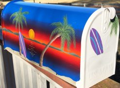 sunset surf beach hand painted mailbox with beach scene