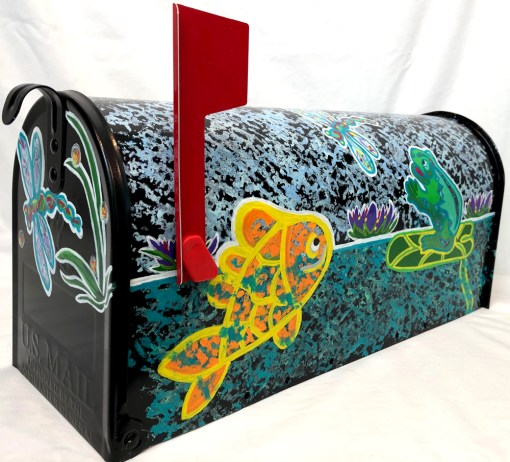 hand painted goldfish mailbox with toad