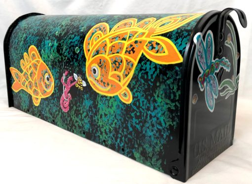 hand painted mailbox with gold fish