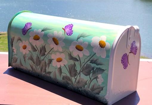 hand painted mailbox daisies and buterrflies