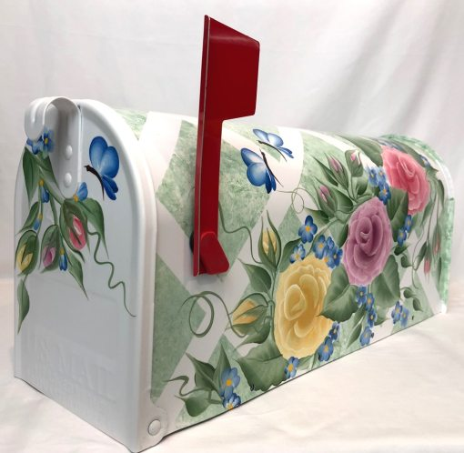 colorful roses on lattice hand painted mailbox