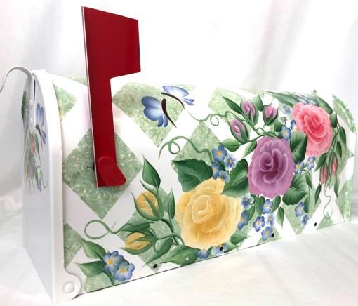 hand painted mailbox lattice roses on seafoam