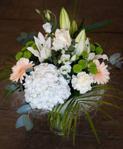 Hydrangea and Lily Vase