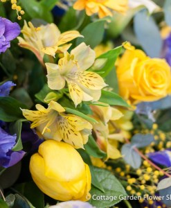 Yellow, Purple & Lilac Casket Spray