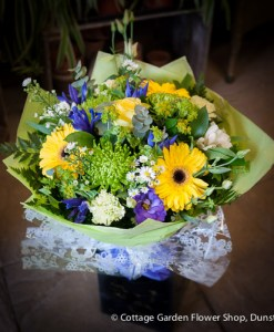 Blue, Yellow & Green Hand Tied