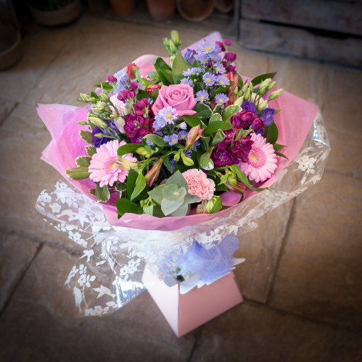 Pink, Mauve & Blue Hand Tied