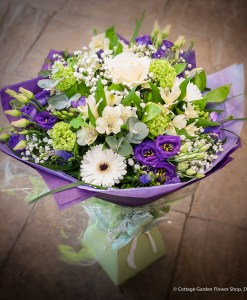 Cream & Purple Hand Tied
