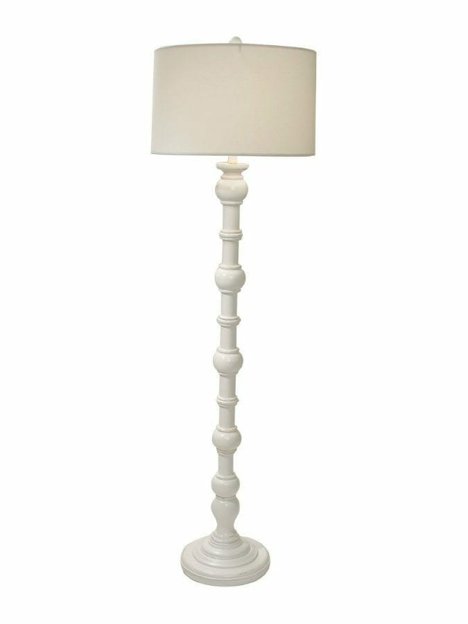 Knob Hill Distressed White Floor Lamp Cottage Home