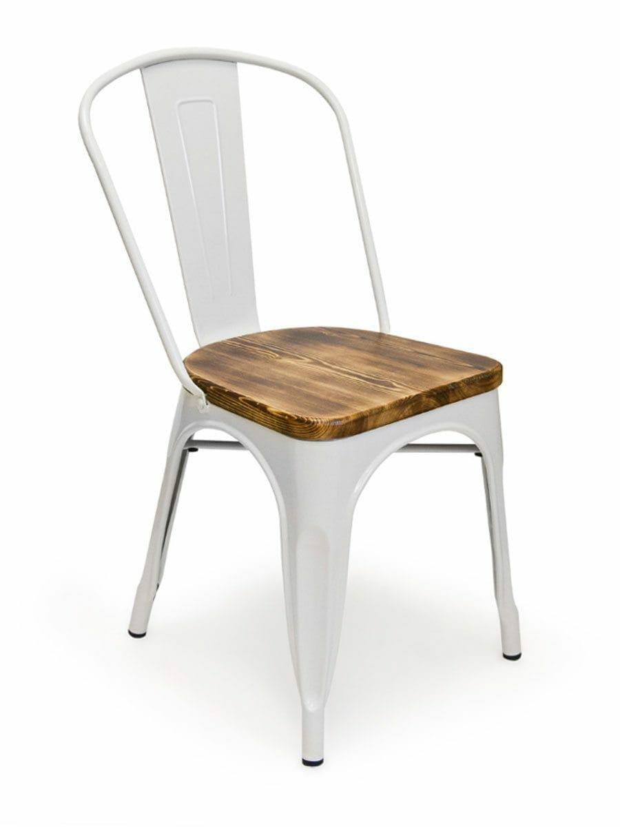 Metal Bistro Wood Seat Chair White
