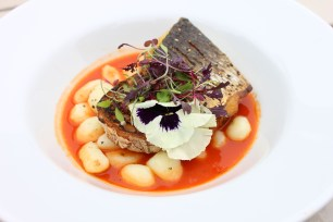 Grilled Grey Mullet with Romesco sauce from The Old School Bar and Kitchen in Cornwall's recipe.