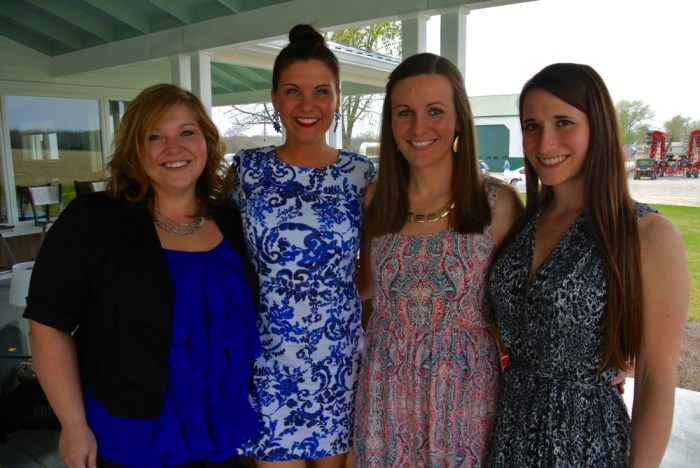 the bride-to-be with two of her bridesmaids and the maid of honor