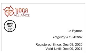 Jo Byrnes is certified by the Yoga Alliance
