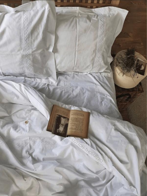 lenjerie de pat alba din bumbac