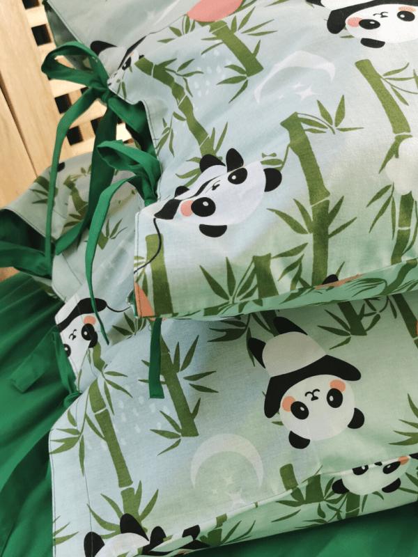 fete de perna din bumbac verde si bumbac imprimat panda love