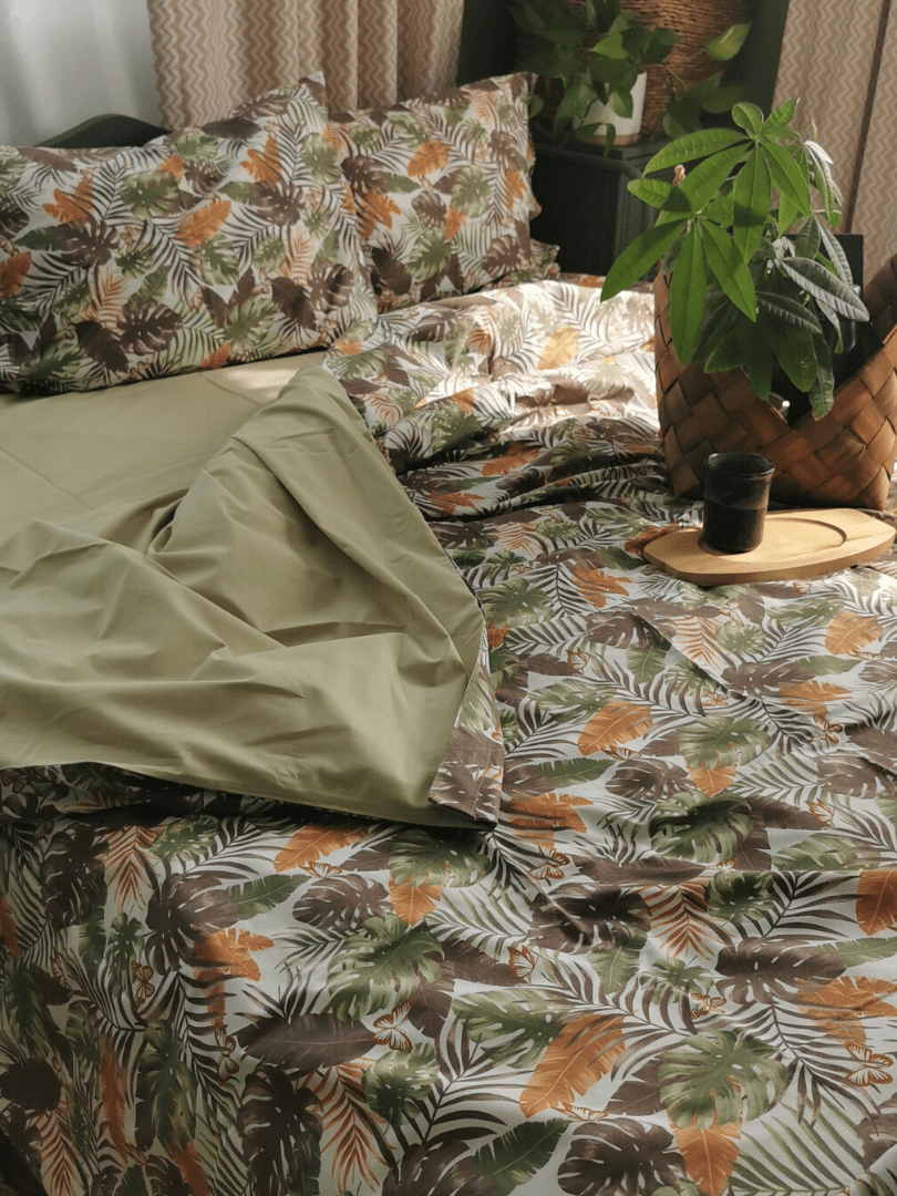 set de pat din bumbac verde fistic si imprimeu cu frunze4