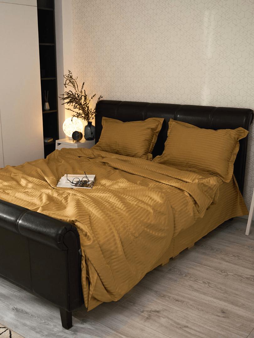 asternut de pat din bumbac damasc mustar