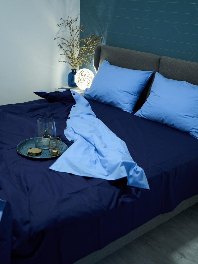 set de pat din bumbac in 2 nuante de albastru4