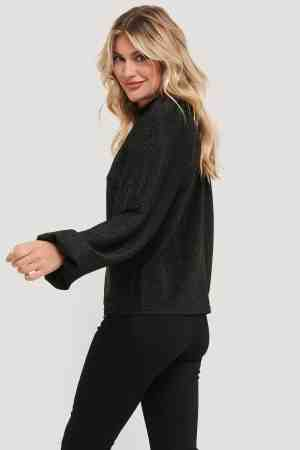 NA-KD Glitter High Neck sweater 1018-005392 black (2)