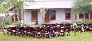 Chairs set up with the wedding ring in front at Cotton Gin No. 116.