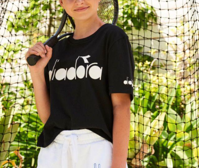 Diadora Girls Boxy Short Sleeve Tee Black Diadora