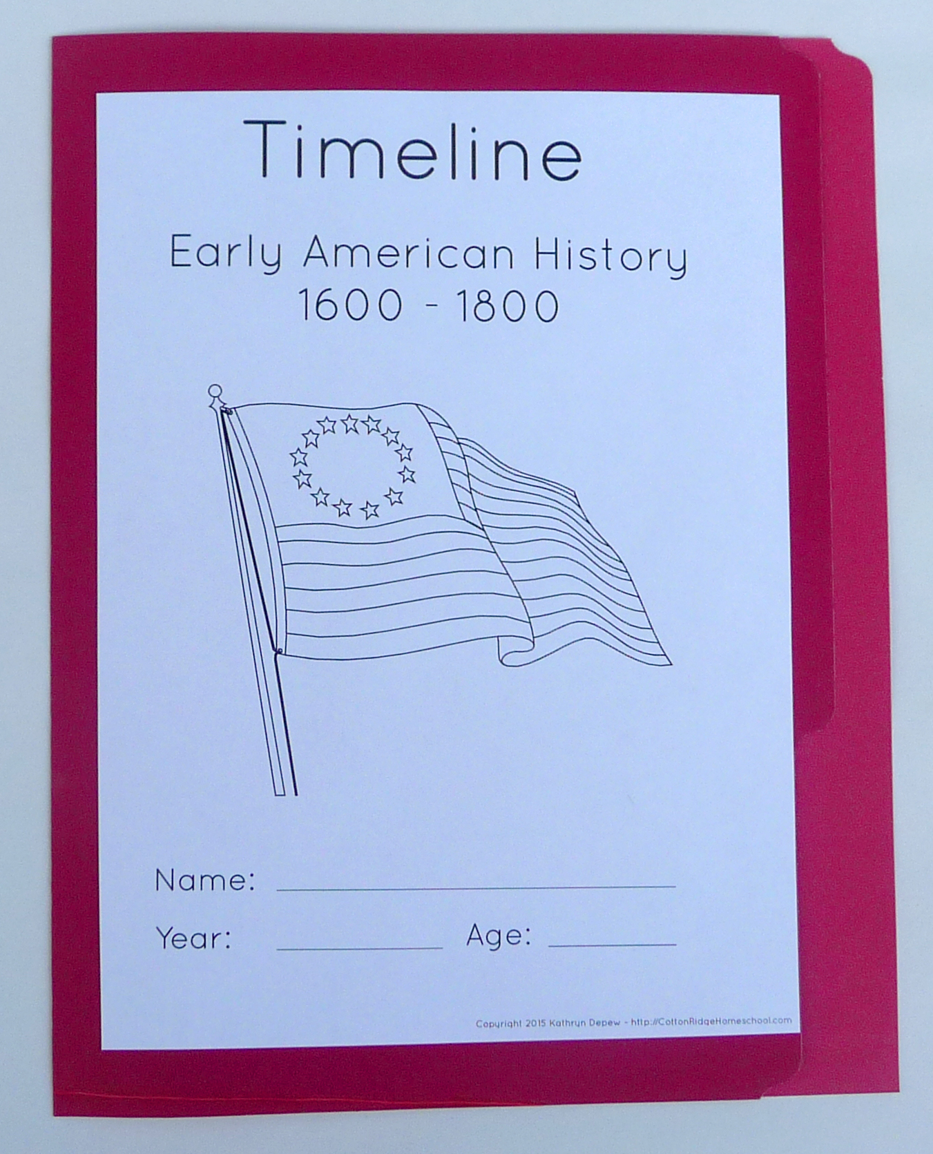 Early American History Timeline Folders And Poster With
