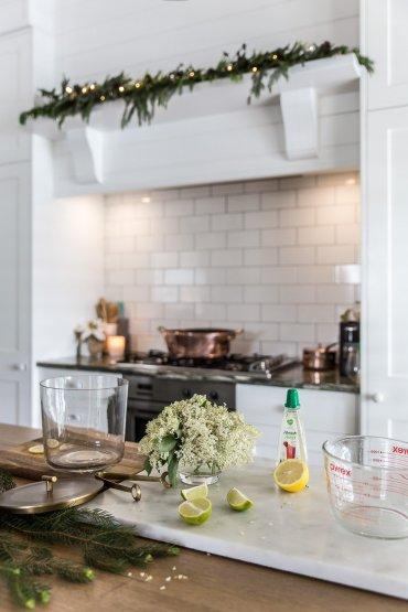Elderflower in kitchen at Christmas