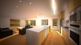 Rendering of kitchen and living room