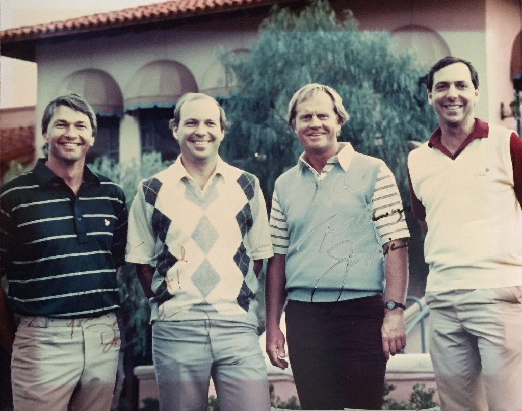 Don Pooley, George Mehl, Jack Nicklaus and David Mehl at the newly created La Paloma Country Club in 1982