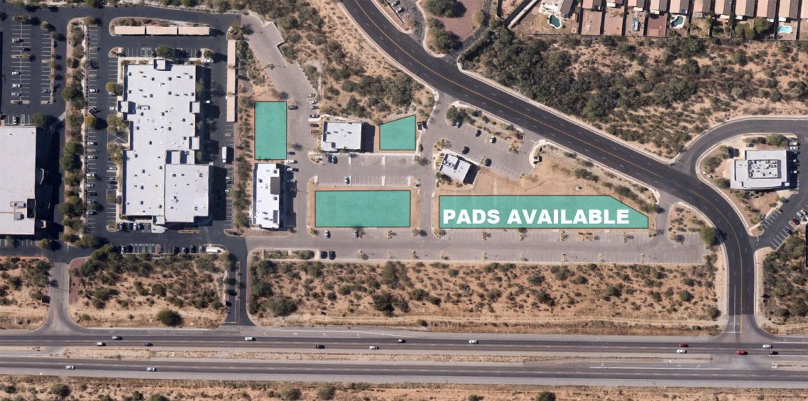 15 fully improved office pads available with Oracle Road frontage in Oro Valley. Building sizes range between 2,200 sf - 6,000 sf. Bank opportunity at the North end. Adjacent to Northwest Medical Center - Urgent Care